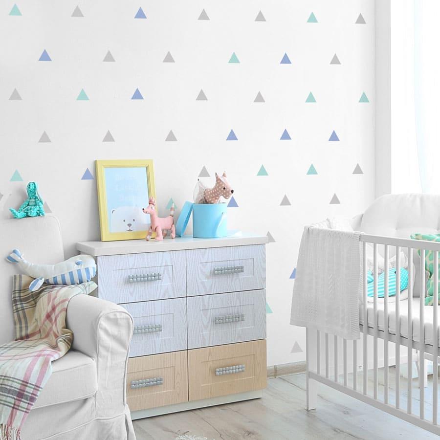 Light grey, blue and aqua triangle wall stickers | Shape wall stickers | Stickerscape | UK