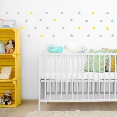 Light grey, yellow and aqua triangle wall stickers   Shape wall stickers   Stickerscape   UK