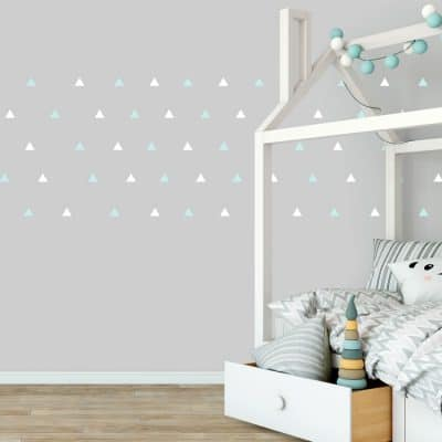 White and aqua triangle wall stickers | Shape wall stickers | Stickerscape | UK