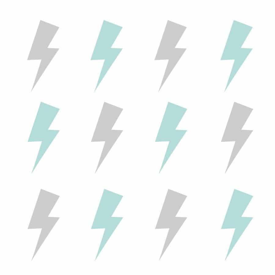 Light grey and aqua lightning bolt wall stickers | Shape wall stickers | Stickerscape | UK