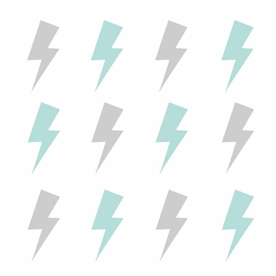 Grey and aqua lightning bolt wall stickers | Shape wall ...
