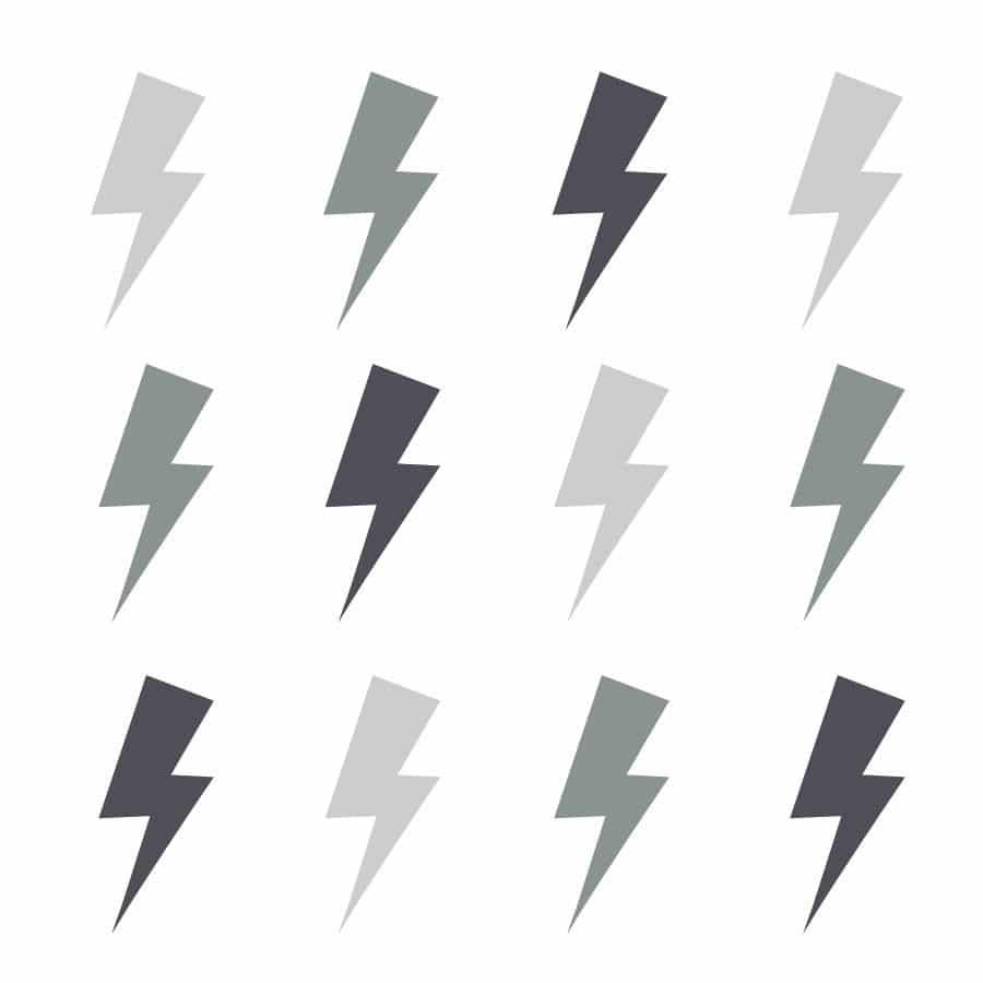 Trio of grey lightning bolt wall stickers | Shape wall stickers | Stickerscape | UK