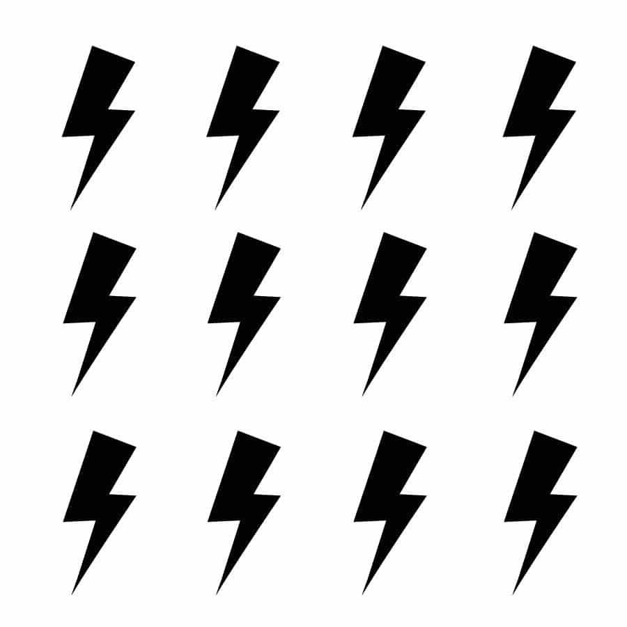Black lightning bolt wall stickers | Shape wall stickers | Stickerscape | UK