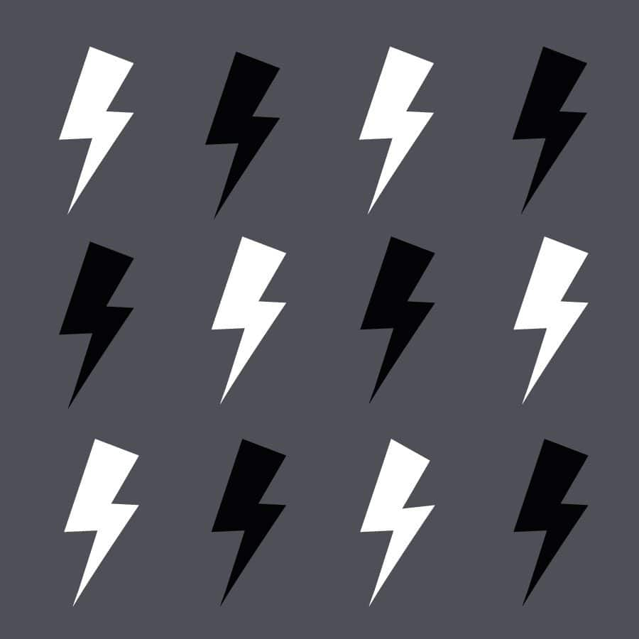 Black and white lightning bolt wall stickers   Shape wall stickers   Stickerscape   UK