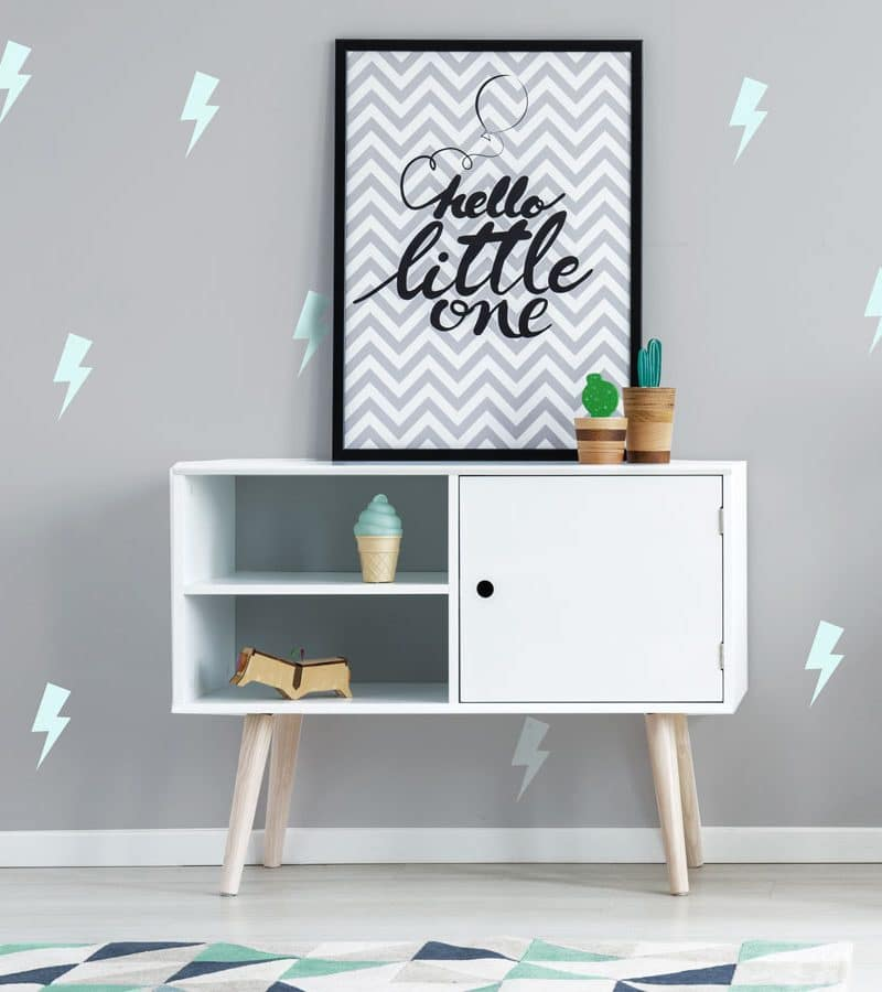 Aqua lightning bolt wall stickers perfect for creating a grey and aqua themed child's room