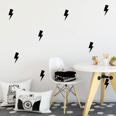 Black lightning bolt wall stickers | Shape wall stickers | Stickerscape | UK