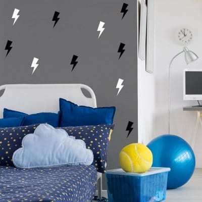 Black and white lightning bolt wall stickers | Shape wall stickers | Stickerscape | UK