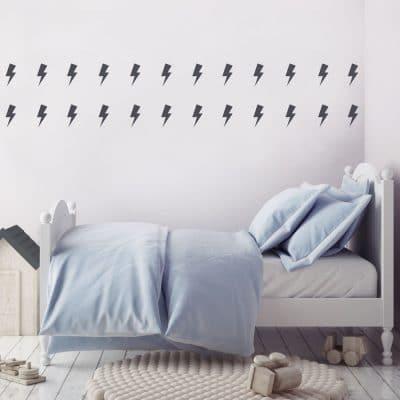 Dark grey lightning bolt wall stickers | Shape wall stickers | Stickerscape | UK