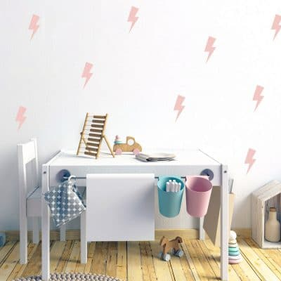 Pink lightning bolt wall stickers | Shape wall stickers | Stickerscape | UK