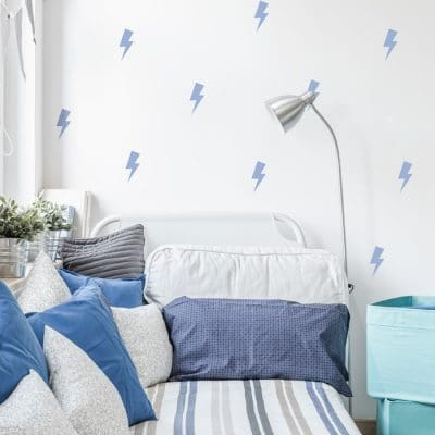 Blue lightning bolt wall stickers | Shape wall stickers | Stickerscape | UK