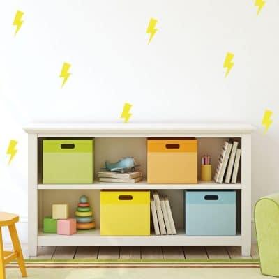 Yellow lightning bolt wall stickers | Shape wall stickers | Stickerscape | UK