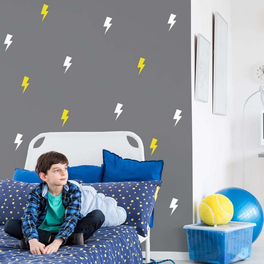 White and yellow lightning bolt wall stickers | Shape wall stickers | Stickerscape | UK