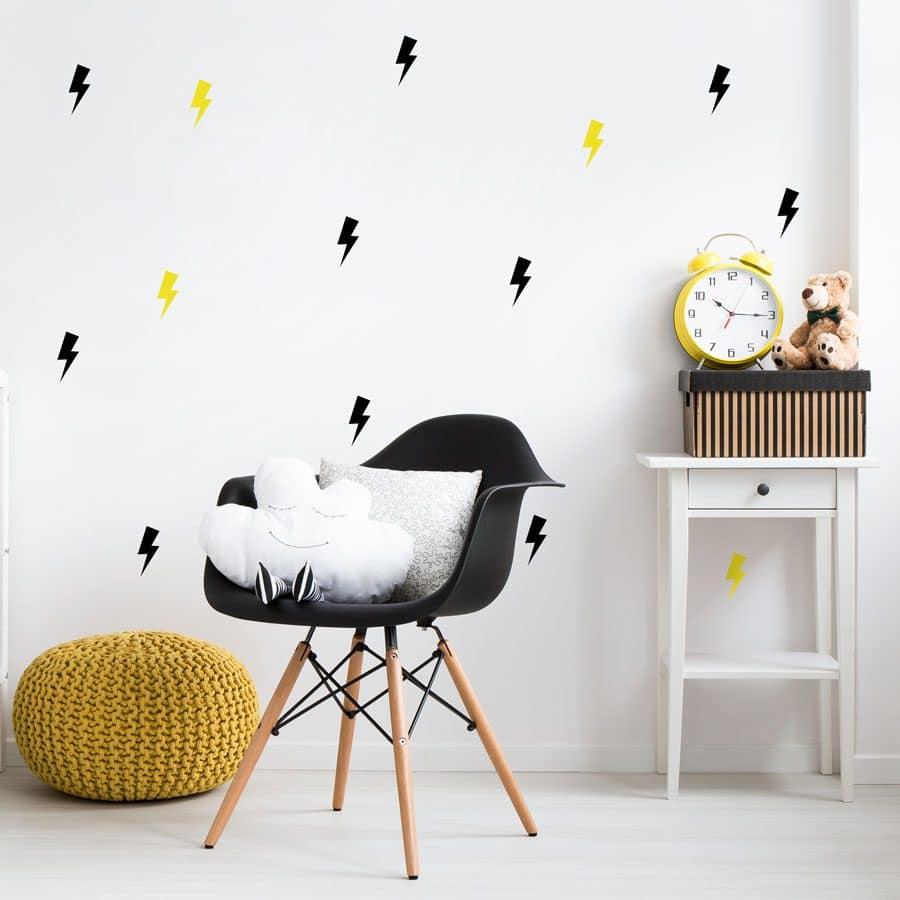 Black and yellow lightning bolt wall stickers | Shape wall stickers | Stickerscape | UK
