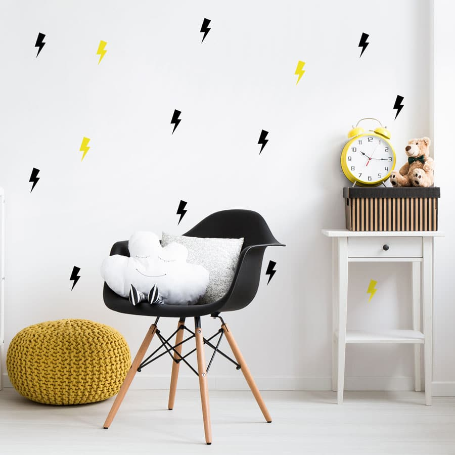 Black and yellow lightning bolt wall stickers perfect for adding a contemporary theme to your child's bedroom