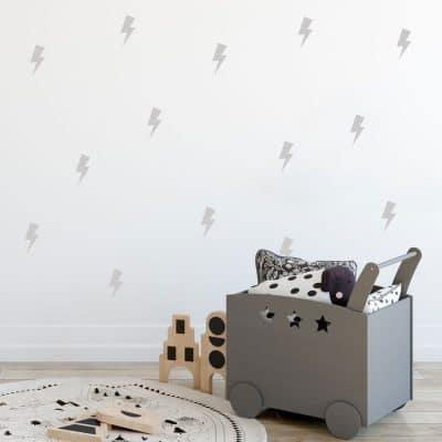 Light grey lightning bolt wall stickers | Shape wall stickers | Stickerscape | UK