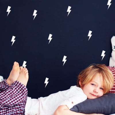 White lightning bolt wall stickers | Shape wall stickers | Stickerscape | UK