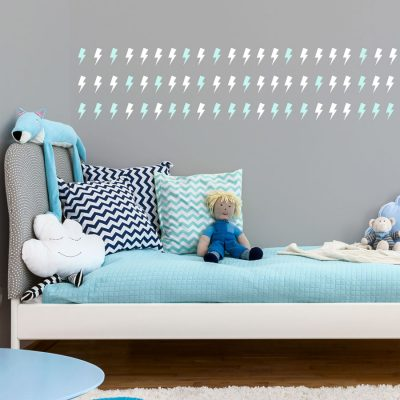 White and aqua lightning bolt wall stickers | Shape wall stickers | Stickerscape | UK