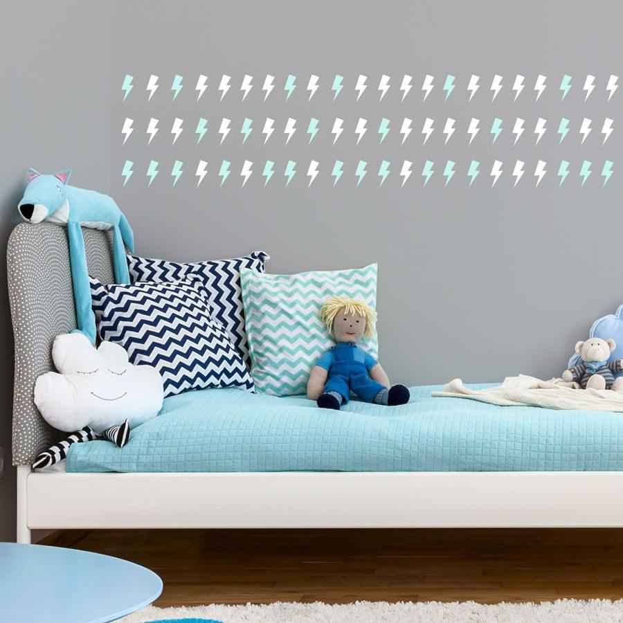 White and aqua lightning bolt wall stickers | Shape wall stickers | Stickerscape | UK