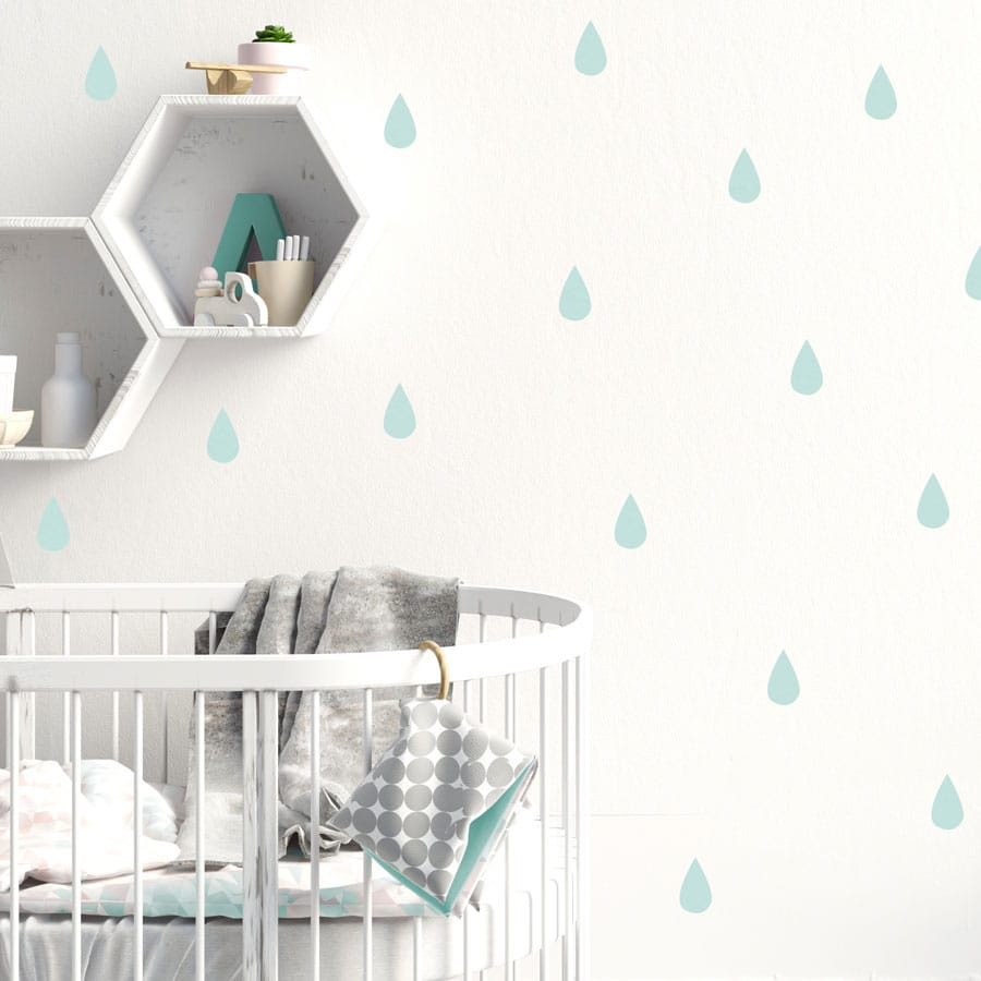 Raindrop wall stickers (Aqua) perfect for decorating a child's bedroom or nursery with a contemporary theme