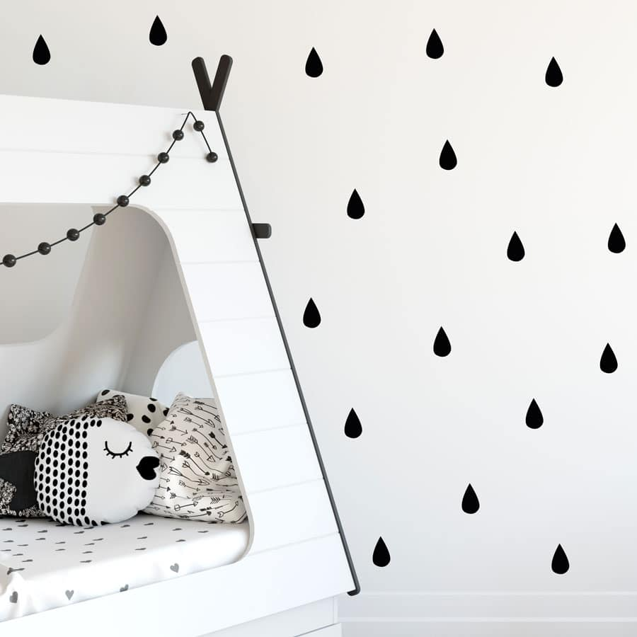 Raindrop wall stickers (Black) perfect for decorating a child's bedroom or nursery with a contemporary theme