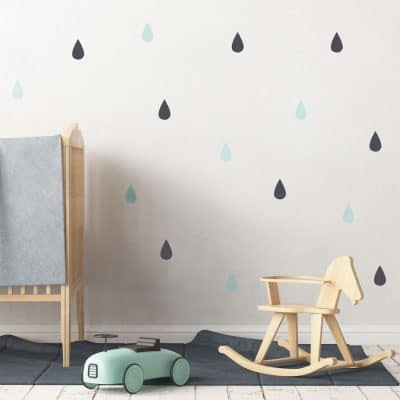 Raindrop wall stickers (Dark grey - aqua) perfect for decorating a child's bedroom or nursery with a contemporary theme