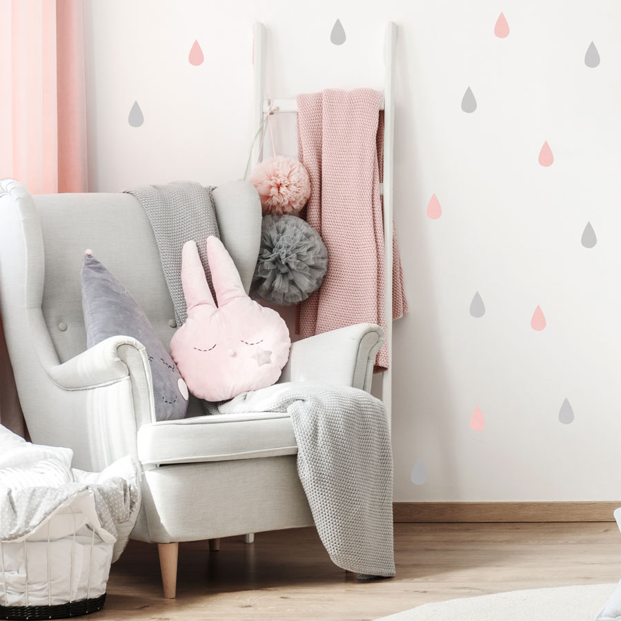 Raindrop wall stickers (Light grey - pink) perfect for decorating a child's bedroom or nursery with a contemporary theme