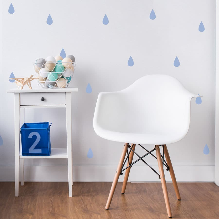 Raindrop wall stickers (Soft blue) perfect for decorating a child's bedroom or nursery with a contemporary theme