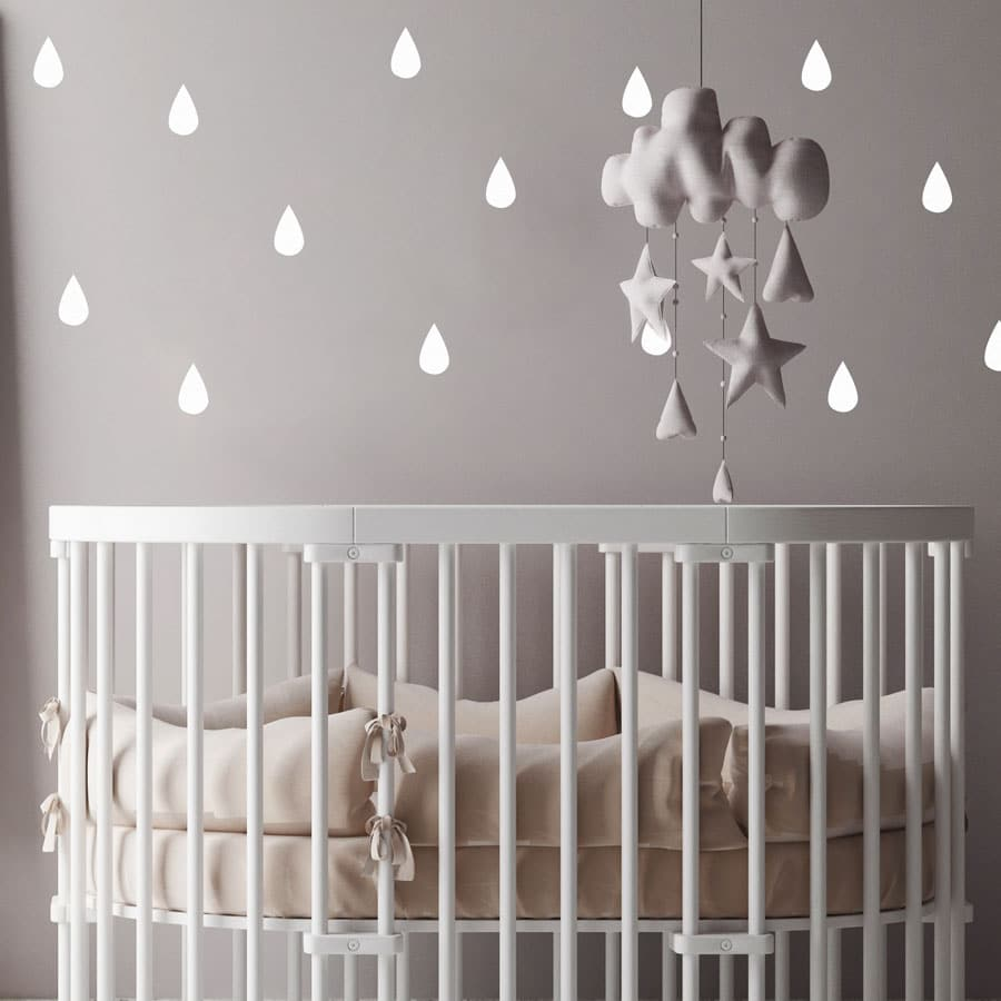 Raindrop wall stickers (White) perfect for decorating a child's bedroom or nursery with a contemporary theme