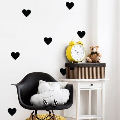 Black heart wall stickers from our peel and stick collection quick and easy to apply to decorate your childs room.