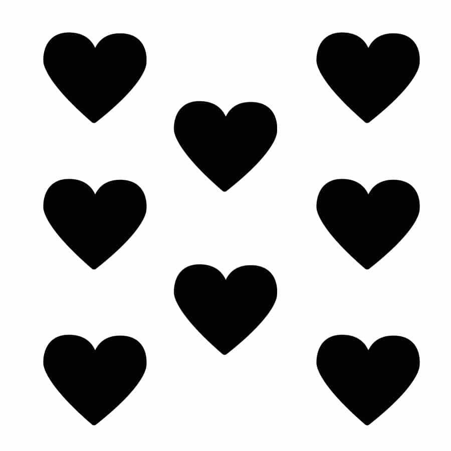Black heart wall stickers on a white background (Large size)