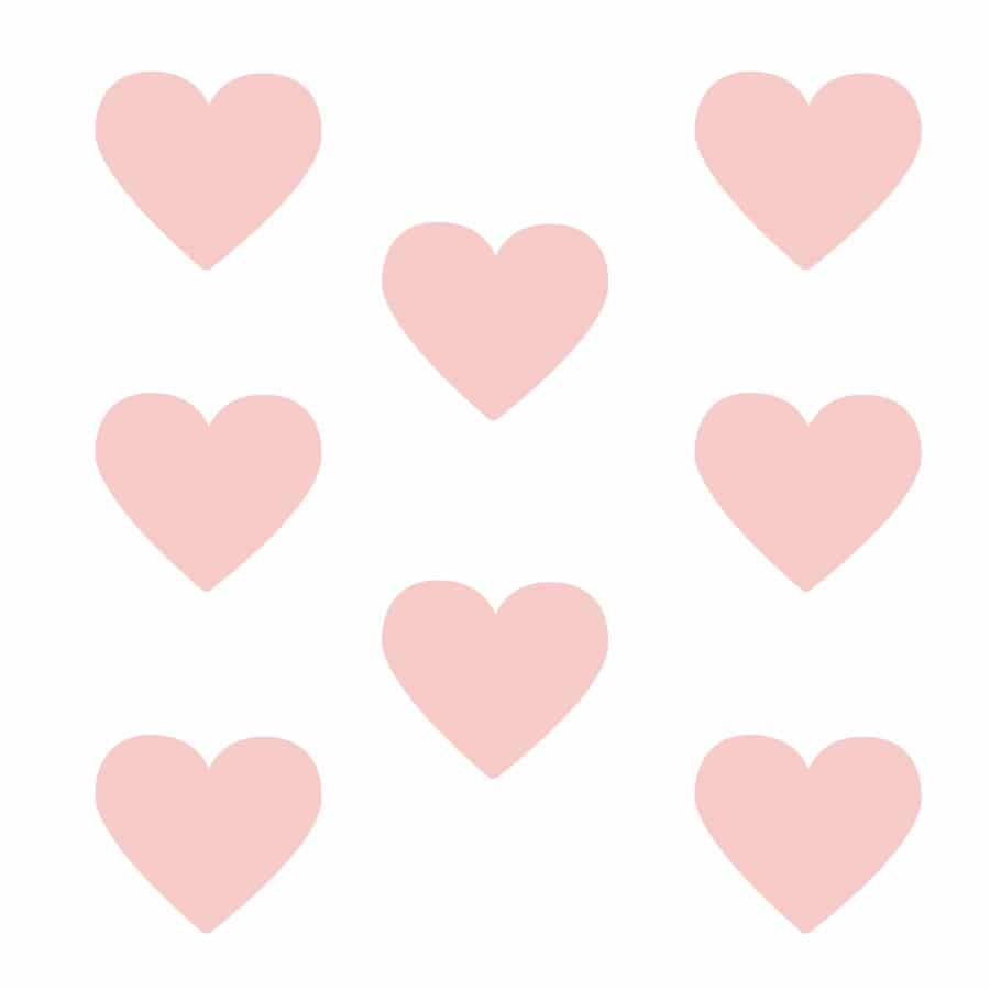 Pink heart wall stickers on a white background (Large size)