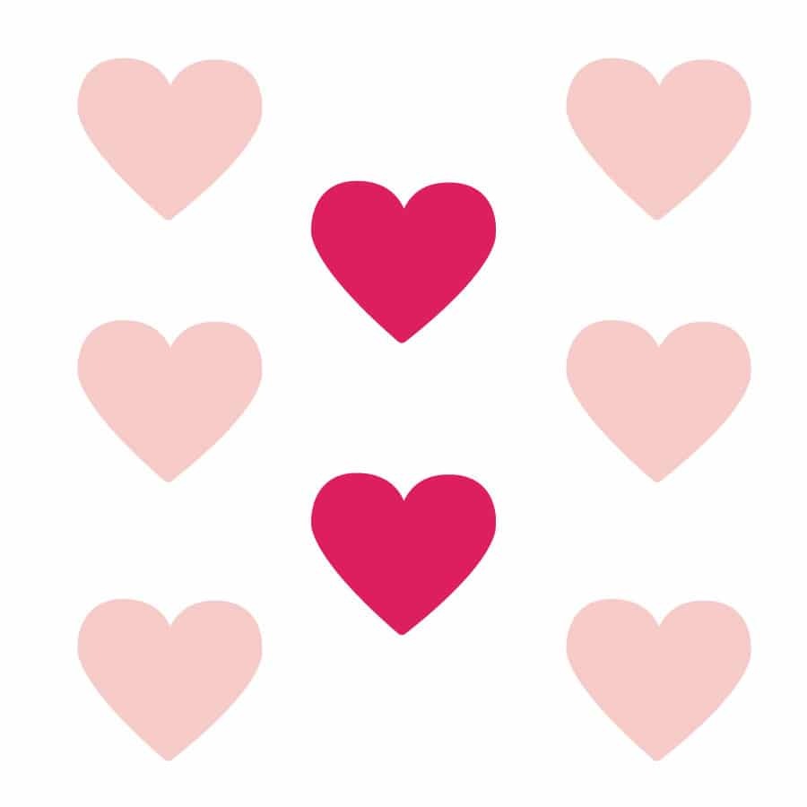 Light pink and hot pink heart wall stickers on a white background (Large size)