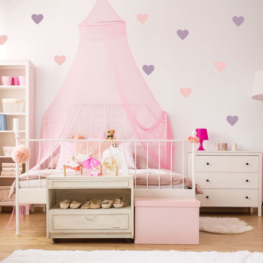 Light pink and lilac heart wall stickers from our peel and stick collection quick and easy to apply to decorate your childs room.