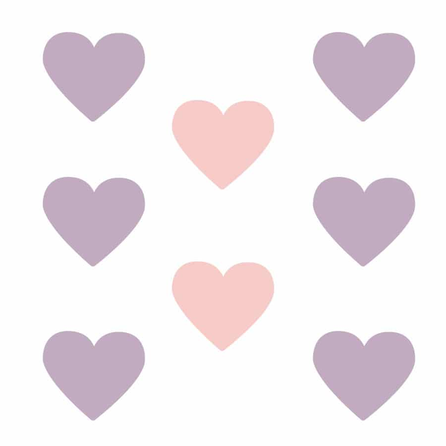 Light pink and lilac heart wall stickers on a white background (Large size)