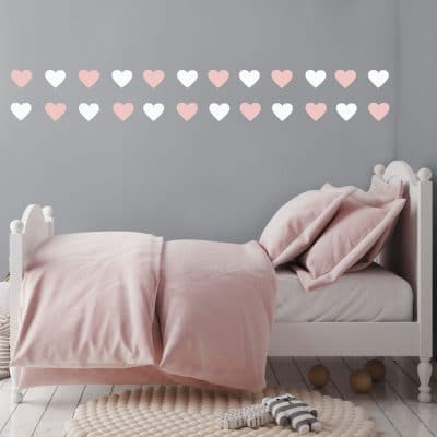 White and pink heart wall stickers from our peel and stick collection quick and easy to apply to decorate your childs room.