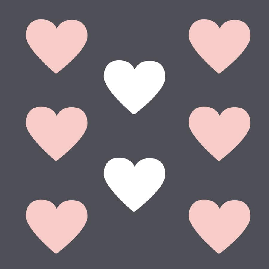 White and pink heart wall stickers on a white background (Large size)