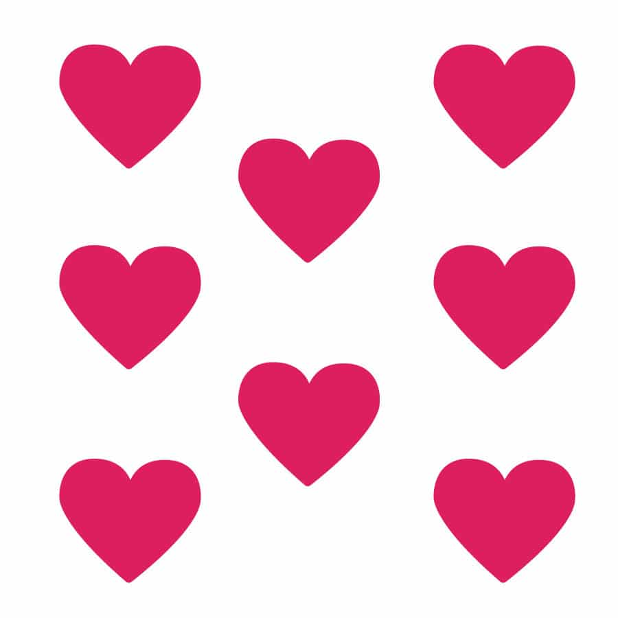 Hot pink heart wall stickers on a white background (Large size)