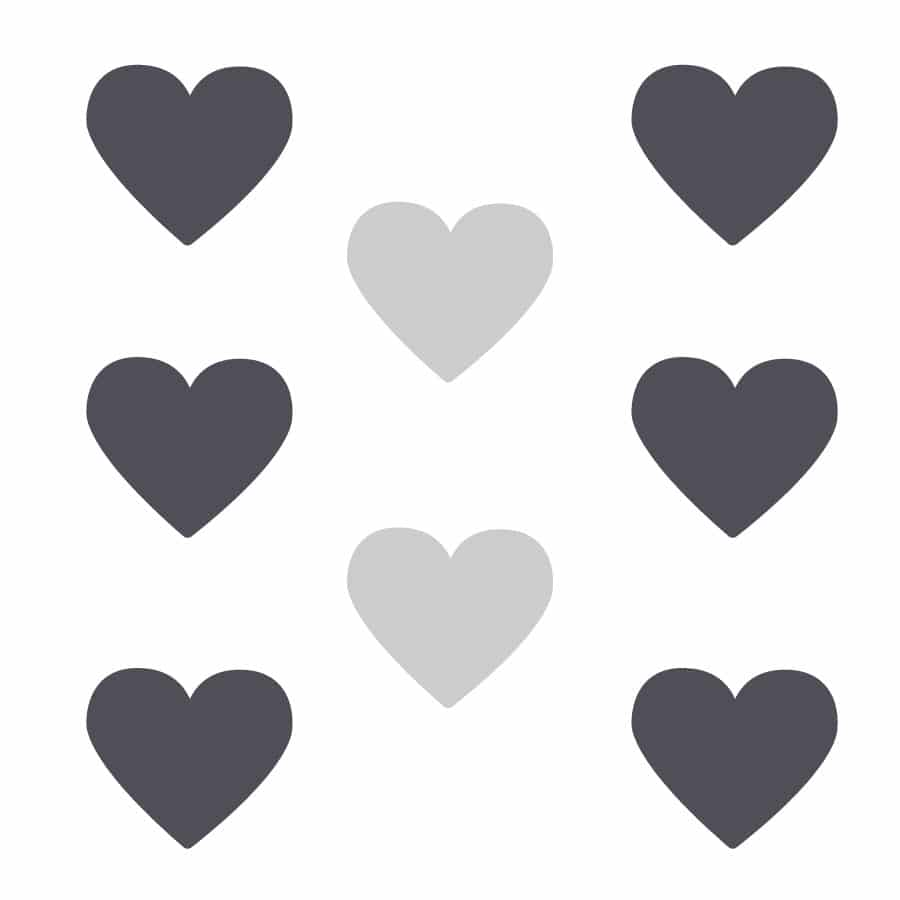 Light grey and dark grey heart wall stickers on a white background (Large size)