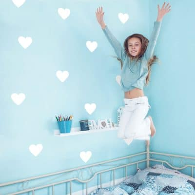 White heart wall stickers from our peel and stick collection quick and easy to apply to decorate your childs room.