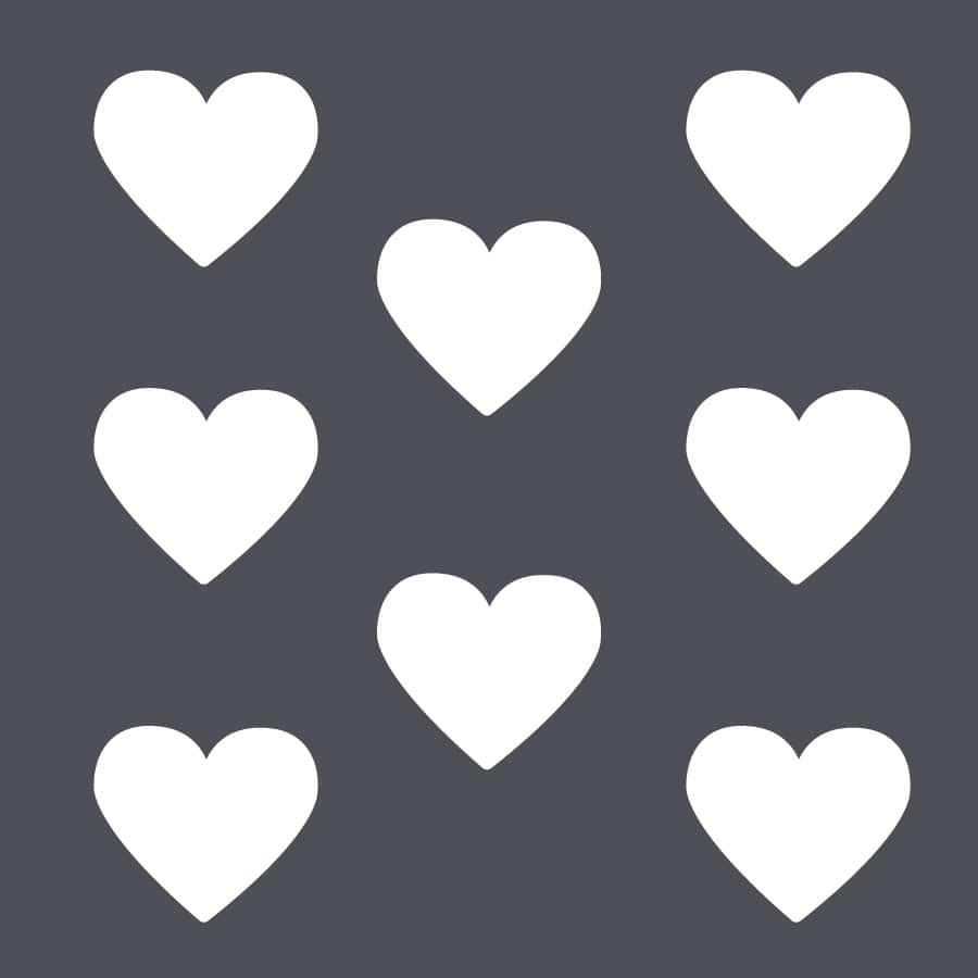 White heart wall stickers on a grey background (Large size)