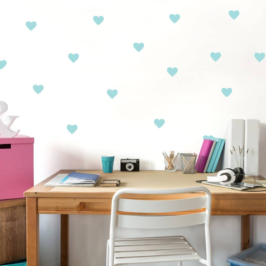 Aqua heart wall stickers from our peel and stick collection quick and easy to apply to decorate your childs room.