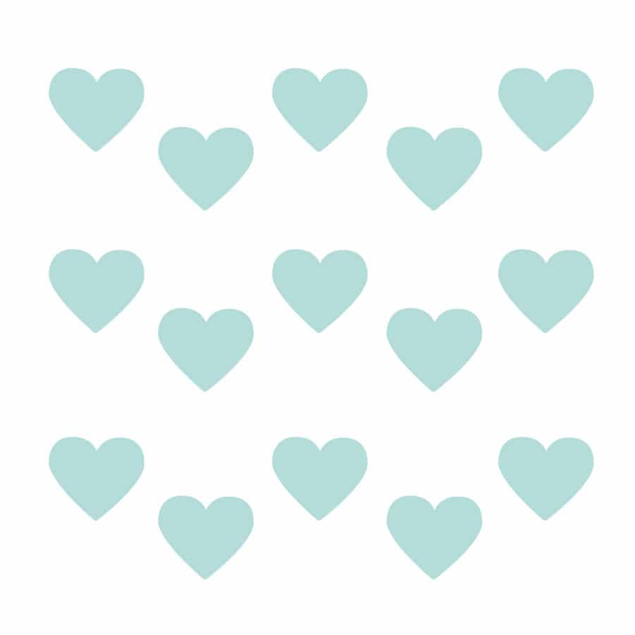 Aqua heart wall stickers on a white background (Regular size)