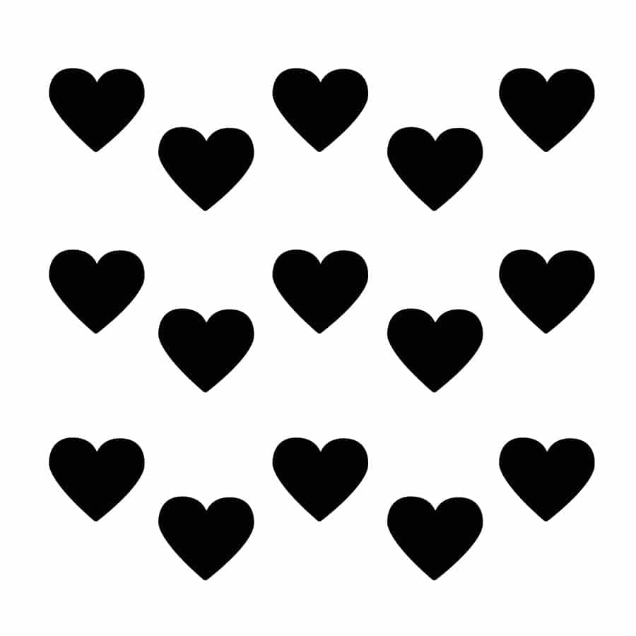 Black heart wall stickers on a white background (Regular size)