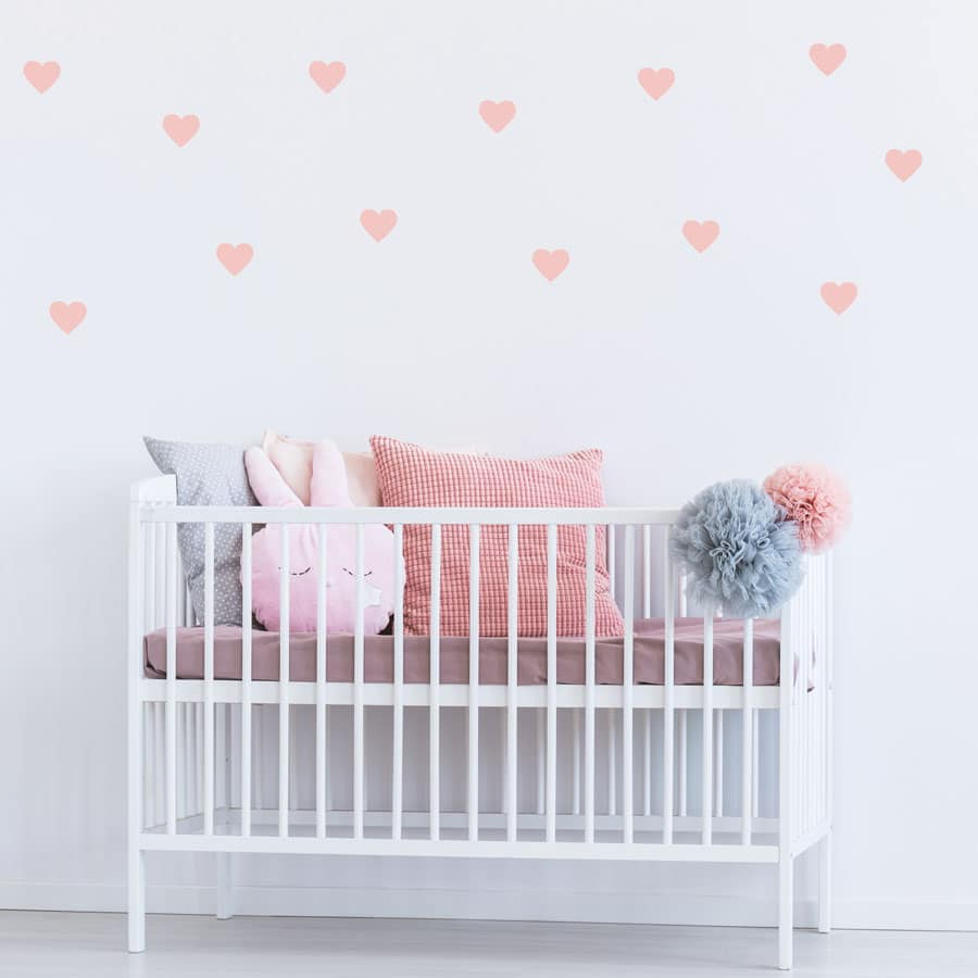 Pink heart wall stickers from our peel and stick collection quick and easy to apply to decorate your childs room.