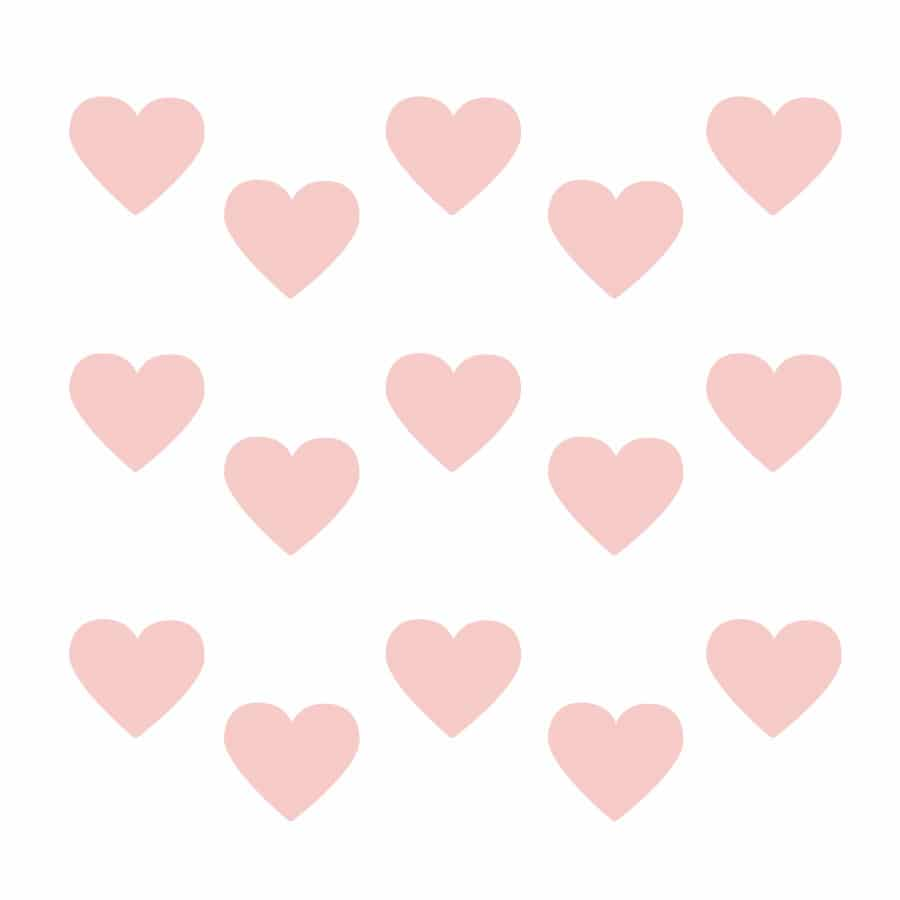 Pink heart wall stickers on a white background (Regular size)