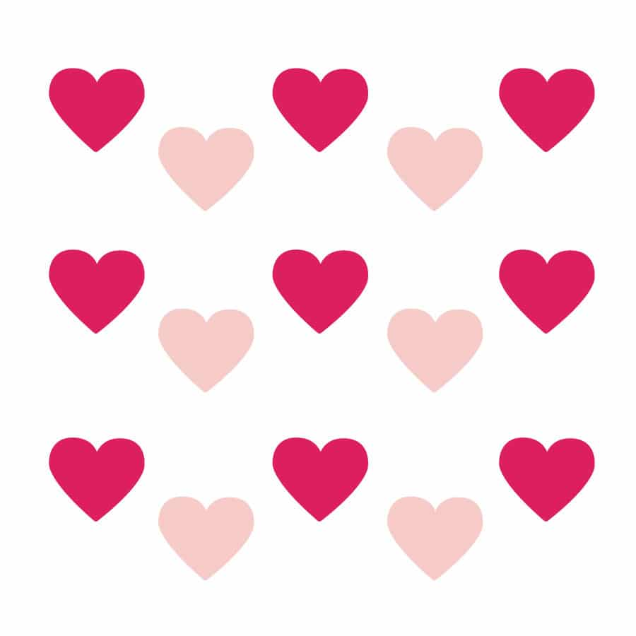 Light pink and hot pink heart wall stickers on a white background (Regular size)