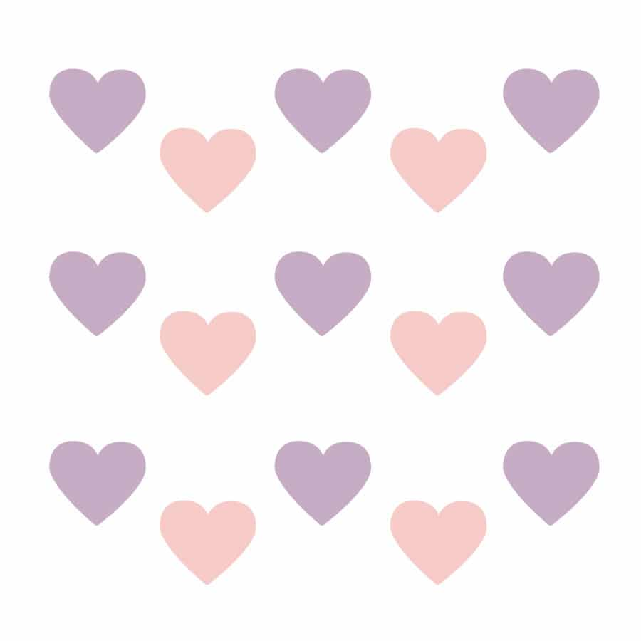 Light pink and lilac heart wall stickers on a white background (Regular size)