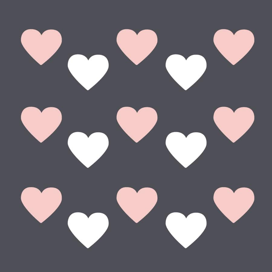 White and pink heart wall stickers on a white background (Regular size)
