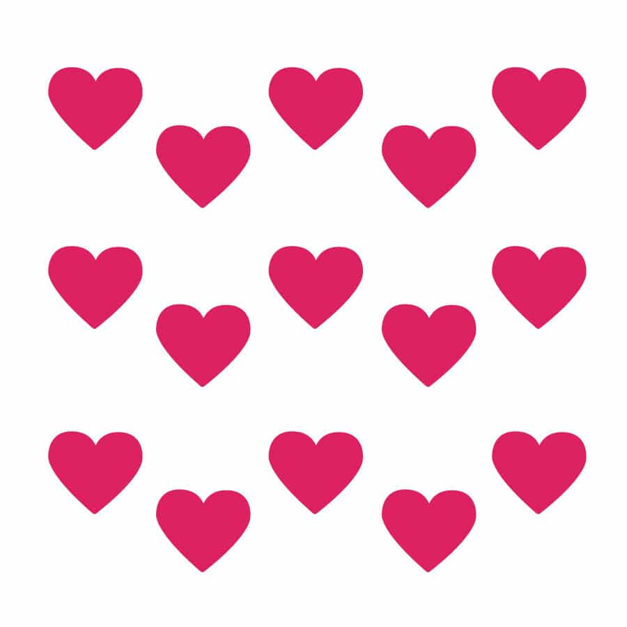 Hot pink heart wall stickers on a white background (Regular size)