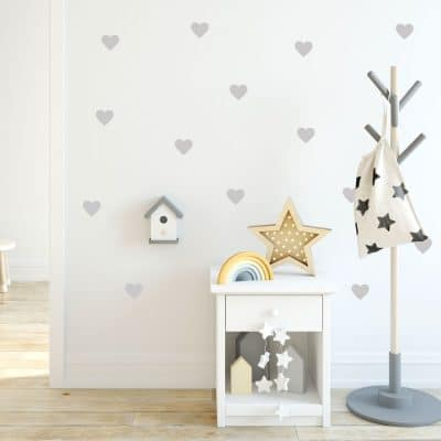 Light grey heart wall stickers from our peel and stick collection quick and easy to apply to decorate your childs room.